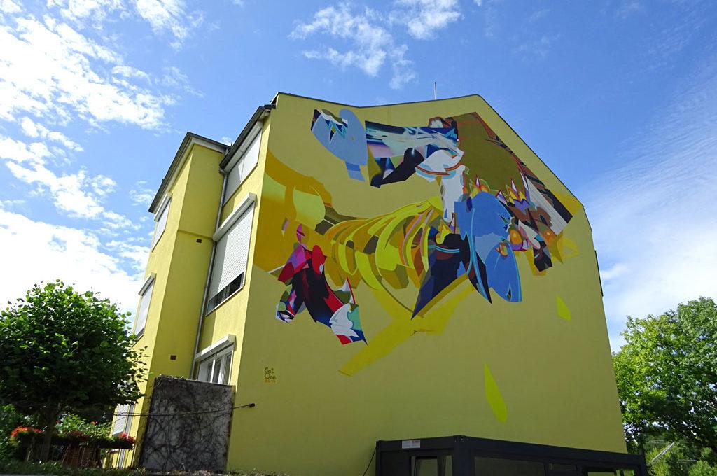 Mural des Müncheners Sat One in Frankfurt