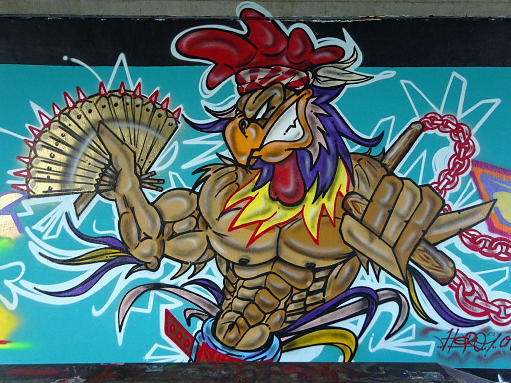 Graffiti an der Friedensbrücke in Frankfurt