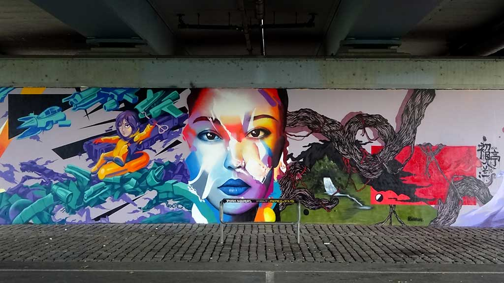 Frankfurt x Guangzhou: Partnerstädte-Graffiti an der Friedensbrücke
