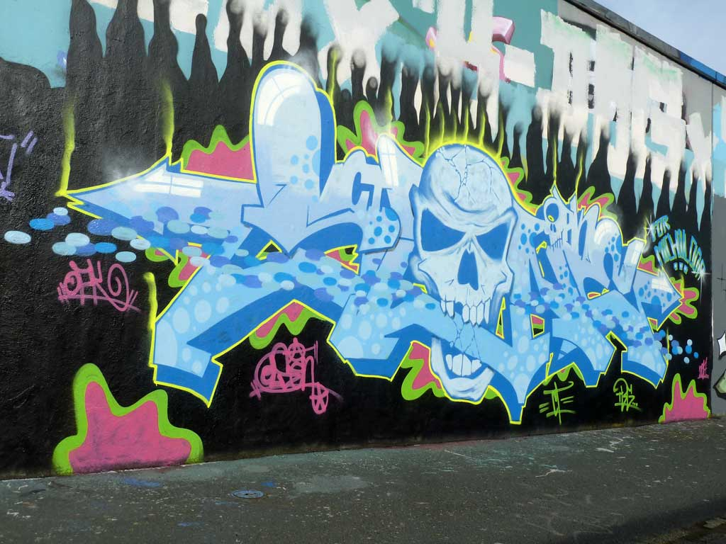 Graffiti an der Hall of Fame in Frankfurt, März 2017