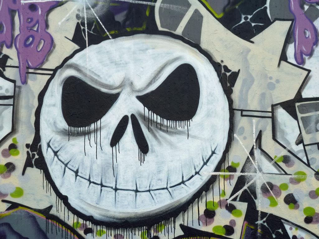 Graffiti an der Hall of Fame in Frankfurt, März 2017