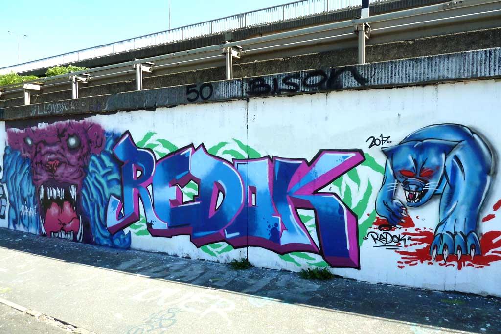 HIKARI und REDOK-Graffiti am Ratswegkreisel