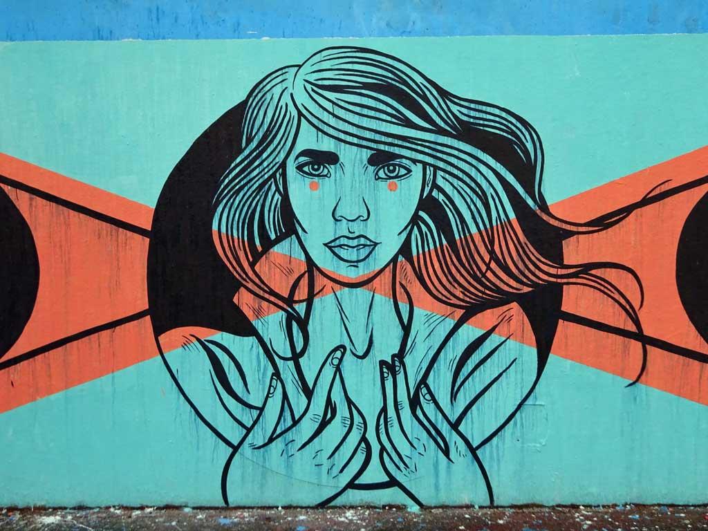 Graffiti bei der Hall of Fame in Frankfurt