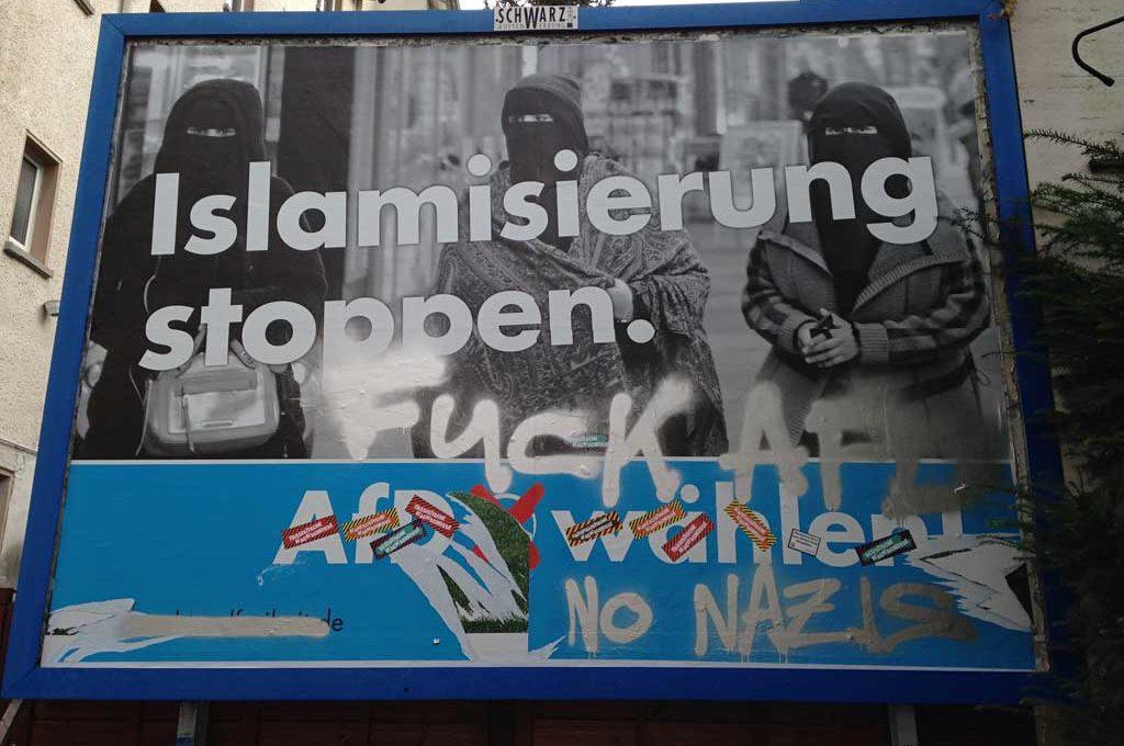 Wahlplakat zur BTW 2017 in Frankfurt