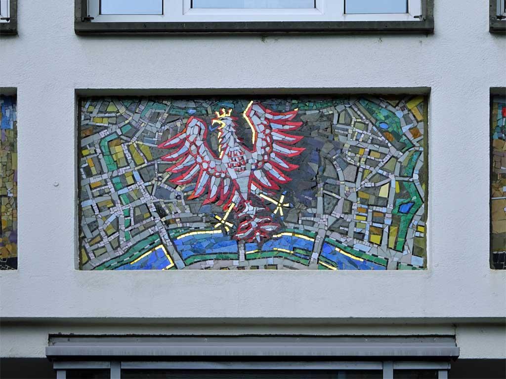 Wappen Frankfurts als Mosaik.