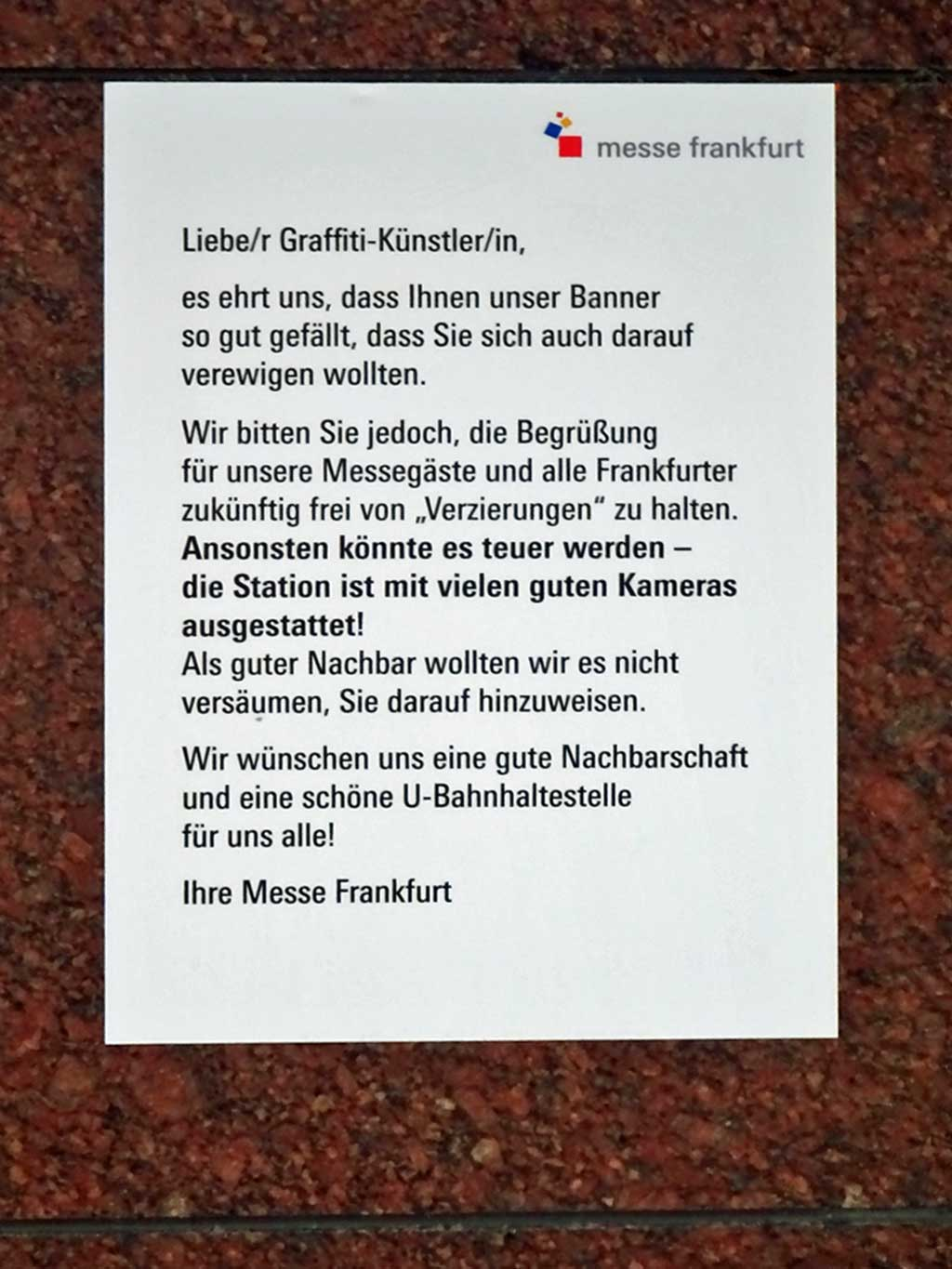 Messe Frankfurt mit Message an Graffiti-Küntsler/in
