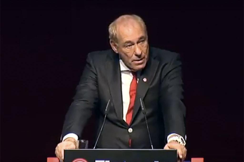 Peter Fischer bei der Mitgliederversammlung 2018