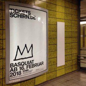 Plakat zur Basquiat-Ausstellung in der Schirn