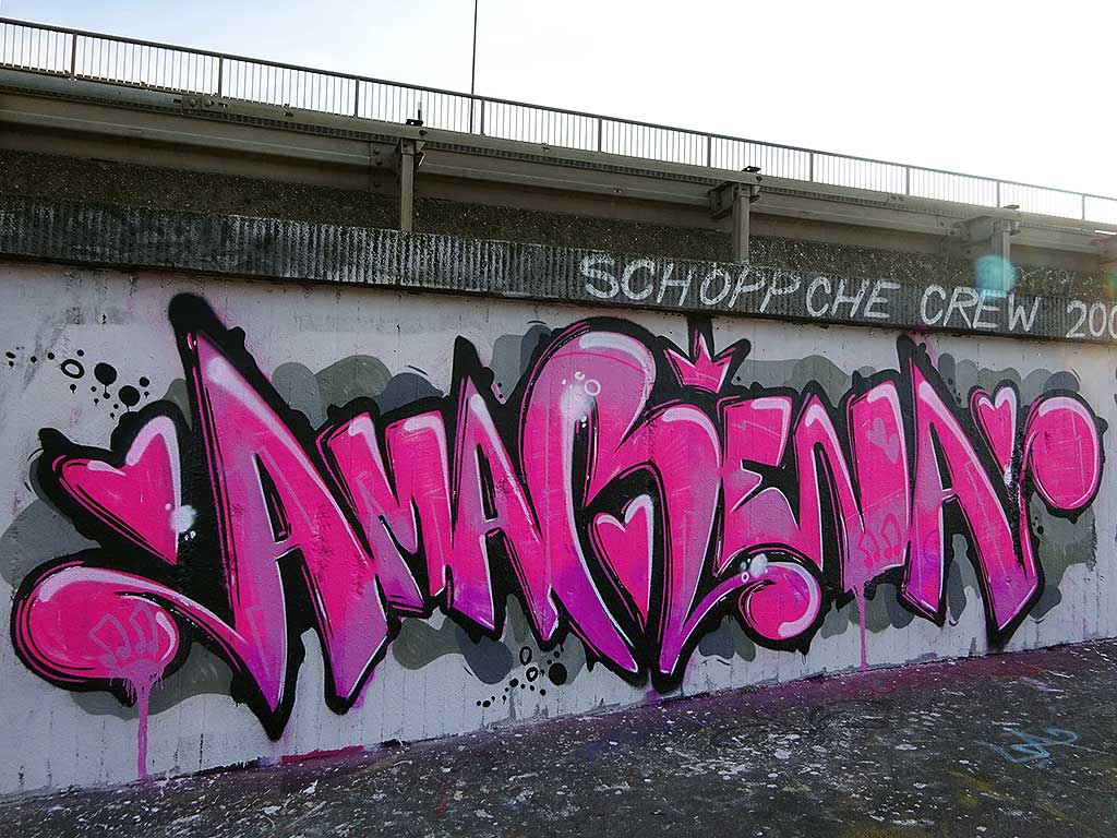 Graffiti an der Hall of Fame in Frankfurt am Main