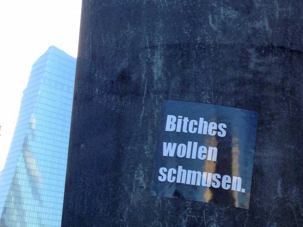 Aufkleber in Frankfurt - Bitches wollen schmusen