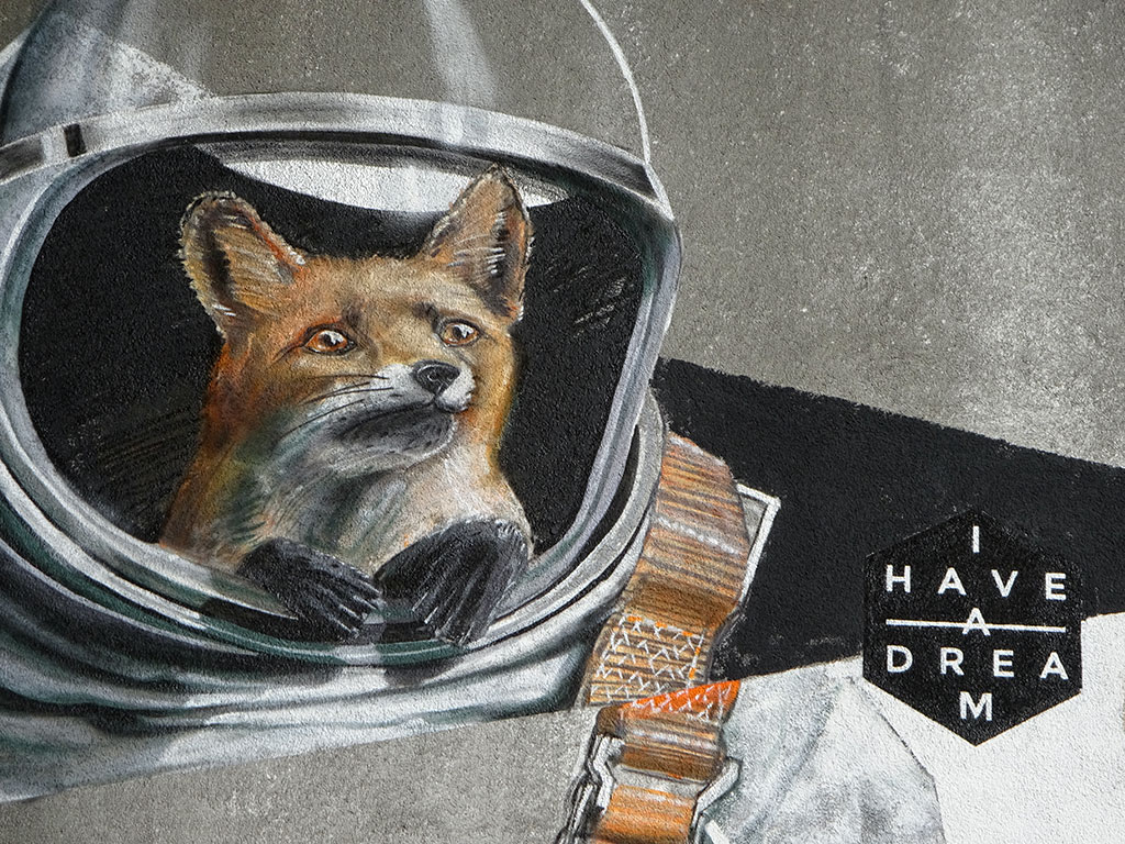 Graffiti in Hattersheim: Astronaut-Fuchs