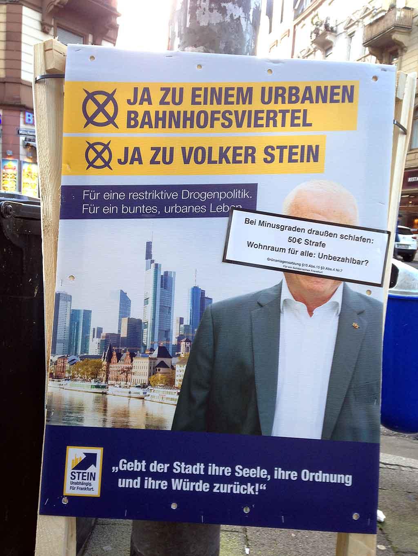 Wahlplakate der Kandidatinnen und Kandidaten zur OB-Wahl 2018 in Frankfurt am Main