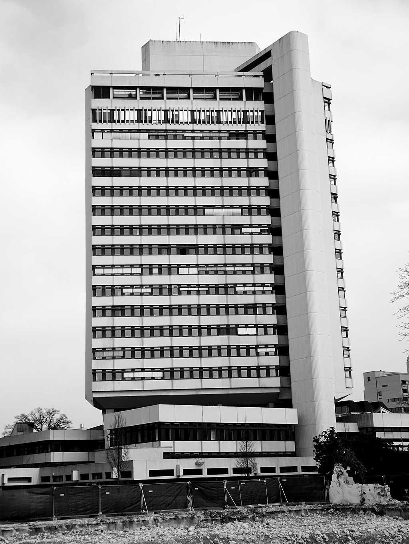 Offenbach schwarz-weiss-Fotografie: Rathaus Offenbach