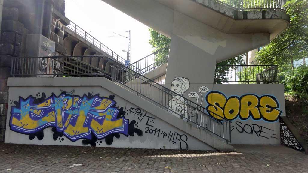 Graffiti an der Deutschherrnbrücke