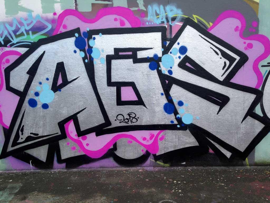 AGS-Graffiti an der Hall of Fame am Ratswegkreisel
