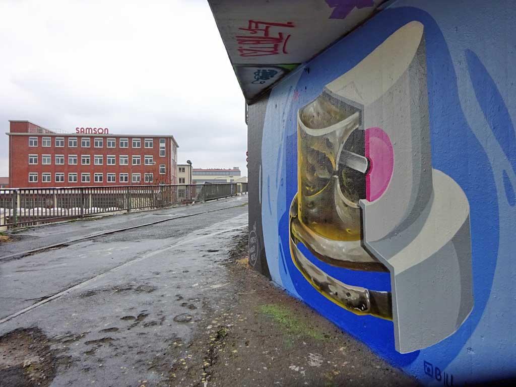 Sprühkopf-Graffiti von Bill Knospi an der Hall of Fame am Ratswegkreisel