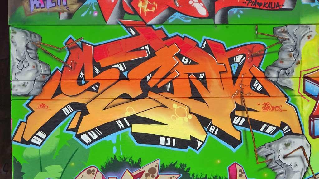 Großstadtdschungel-Graffiti am Niddapark in Frankfurt