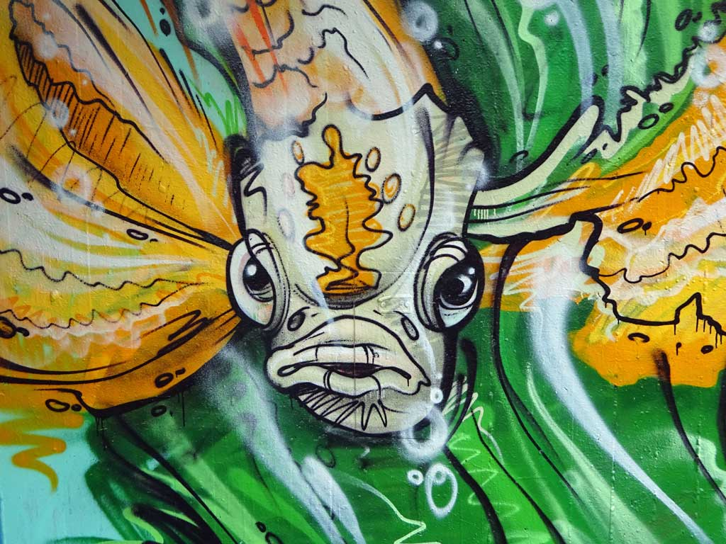Fisch-Graffiti an der Hall of Fame am Ratswegkreisel