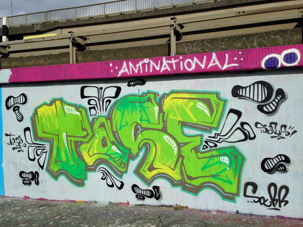Tase-Graffiti an der Hall of Fame am Ratswegkreisel