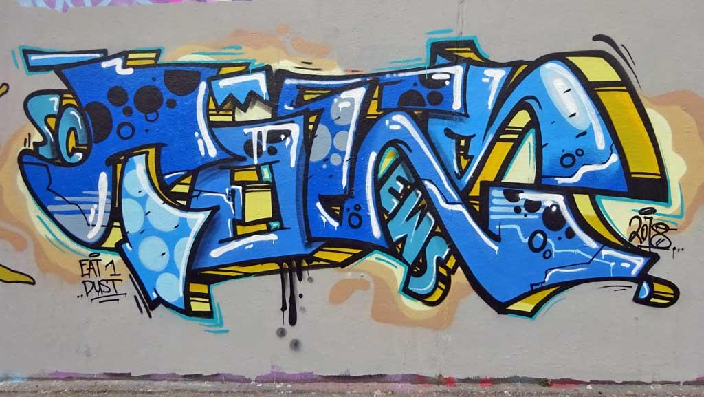 Toes-Graffiti an der Hall of Fame am Ratswegkreisel