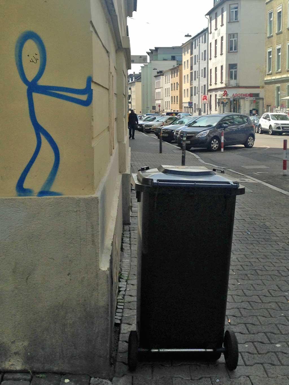 Strichmännchen-Streetart in Frankfurt