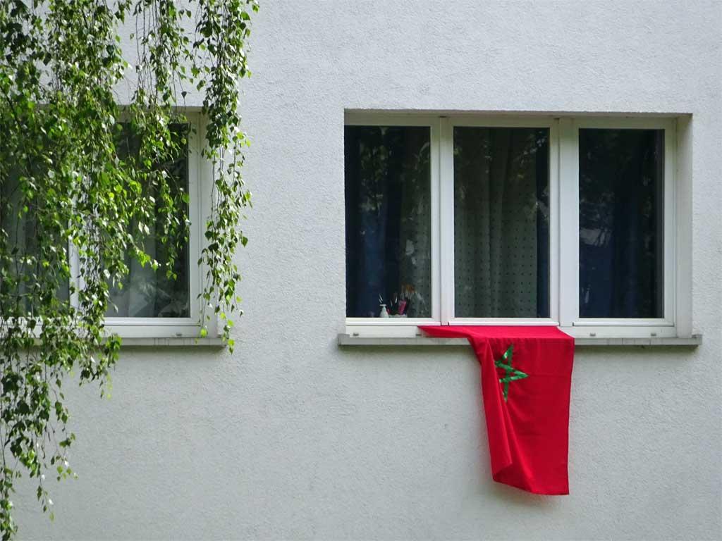 Fußball WM 2018 - Marokko-Flagge in Frankfurt