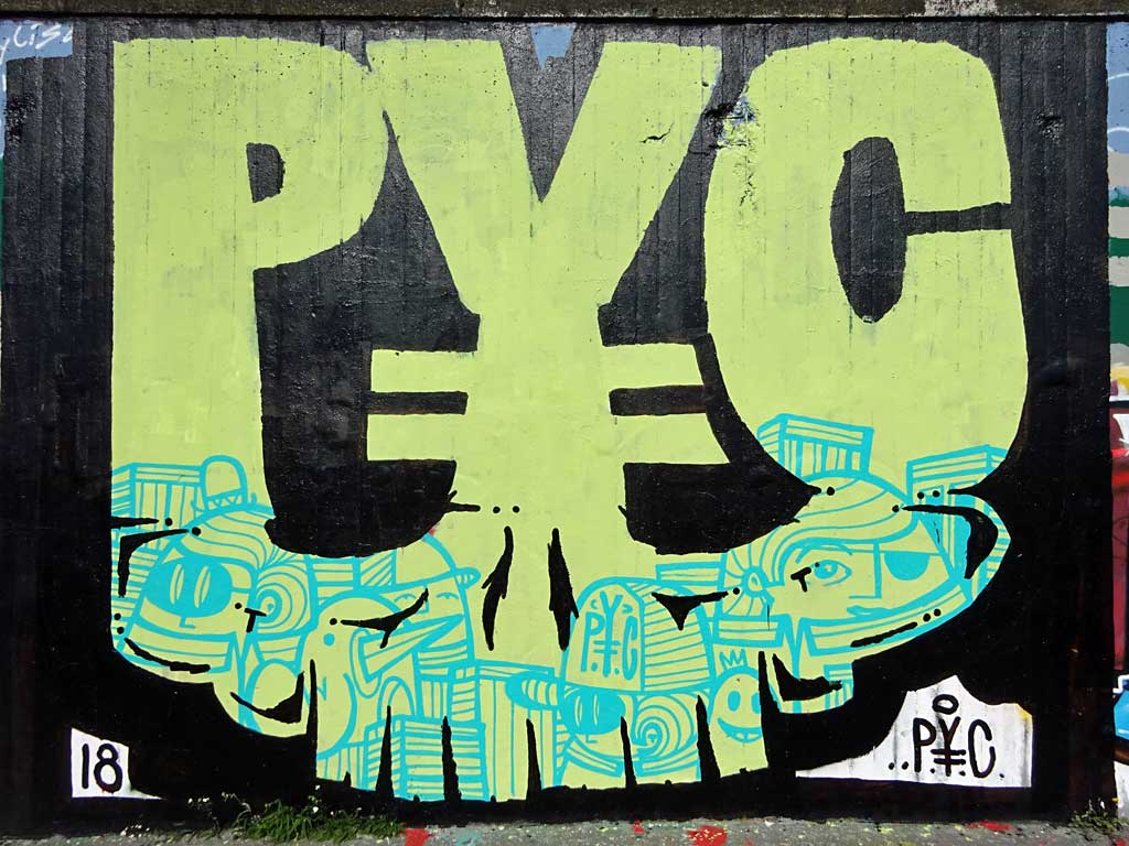 PYC-Graffiti bei der Hall of Fame in Frankfurt