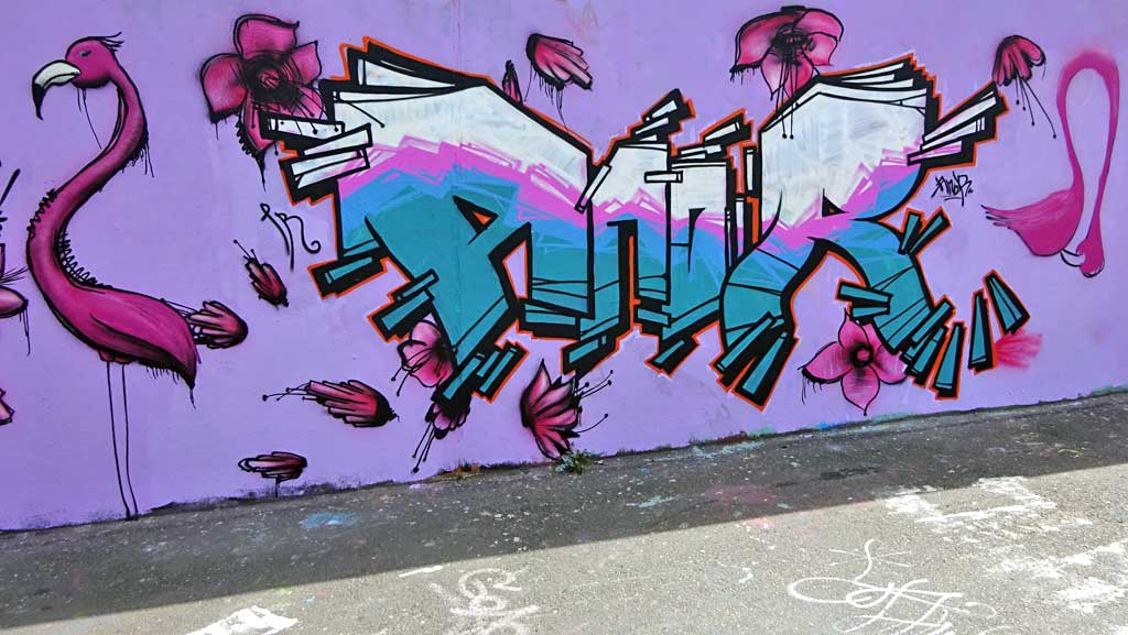 Anor-Graffiti bei der Hall of Fame in Frankfurt
