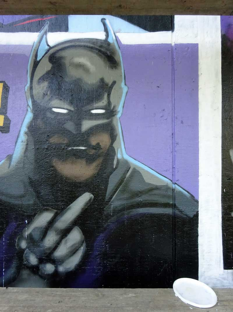 Bat Man-Graffiti am Niddapark