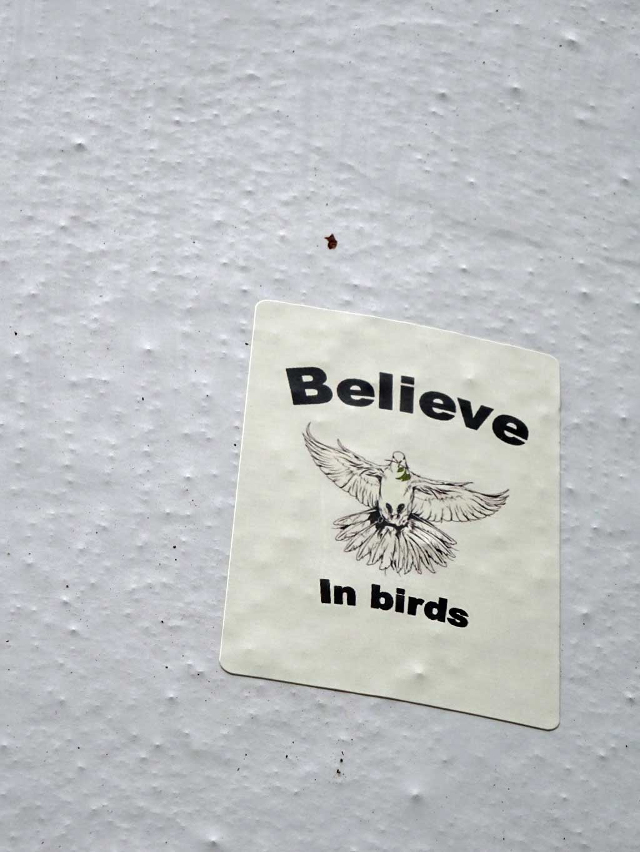 Aufkleber in Frankfurt - Believe in birds