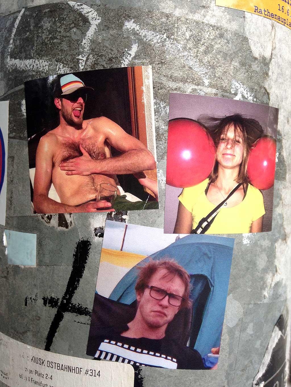 Aufkleber in Frankfurt - Oben-ohne-Kerl, Partygirl und Grumpy-Selfie-Dude