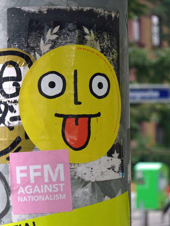 Aufkleber in Frankfurt - FFM against Nationalism
