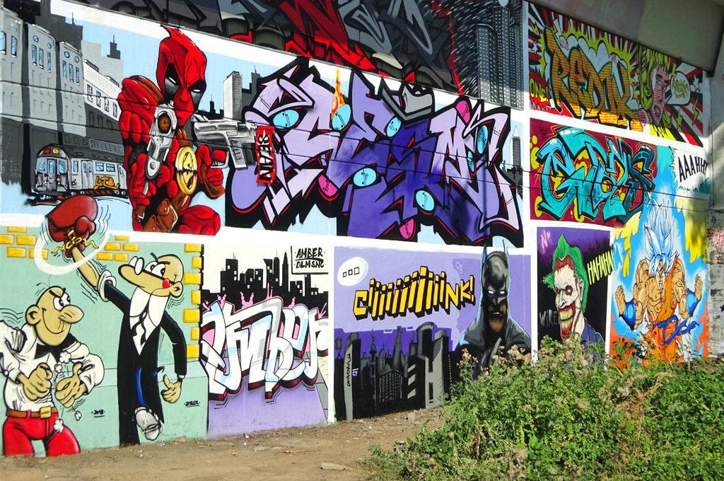 Comic-Art-Wall am Niddapark in Frankfurt