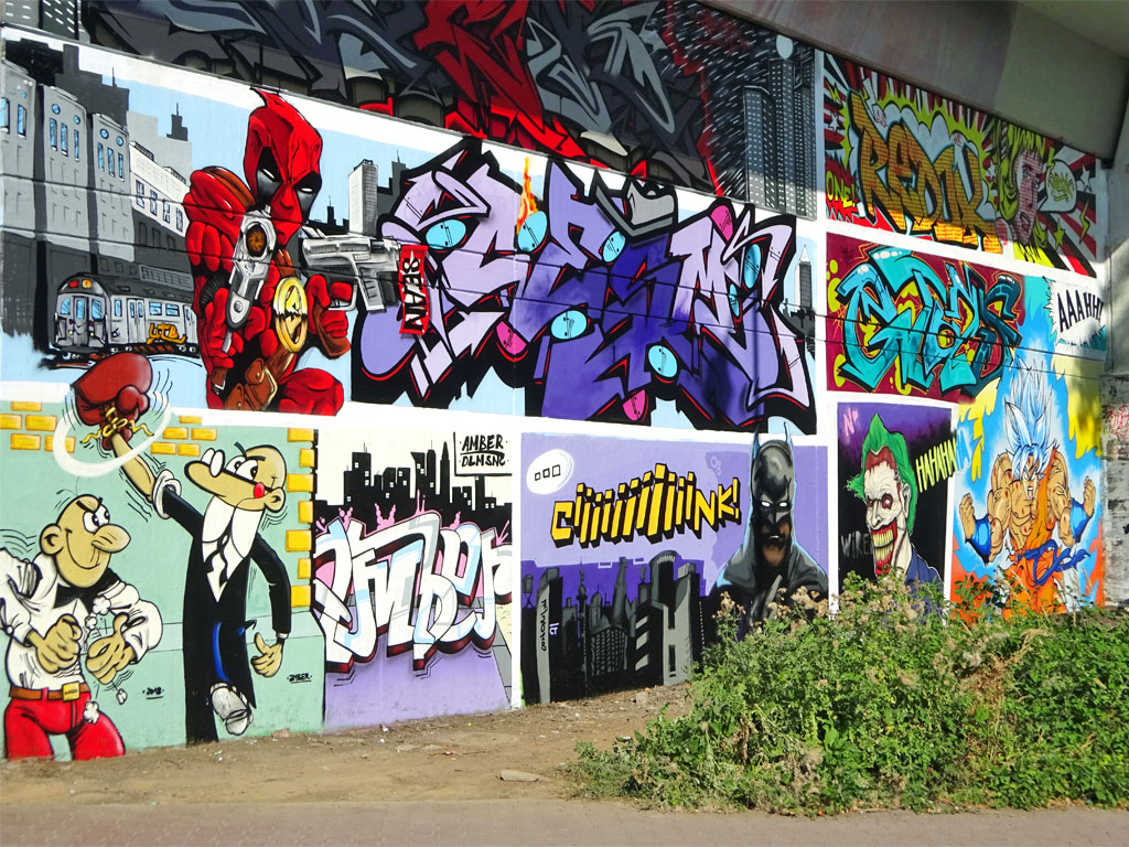 Comic-Art-Wall am Niddapark in Frankfurt