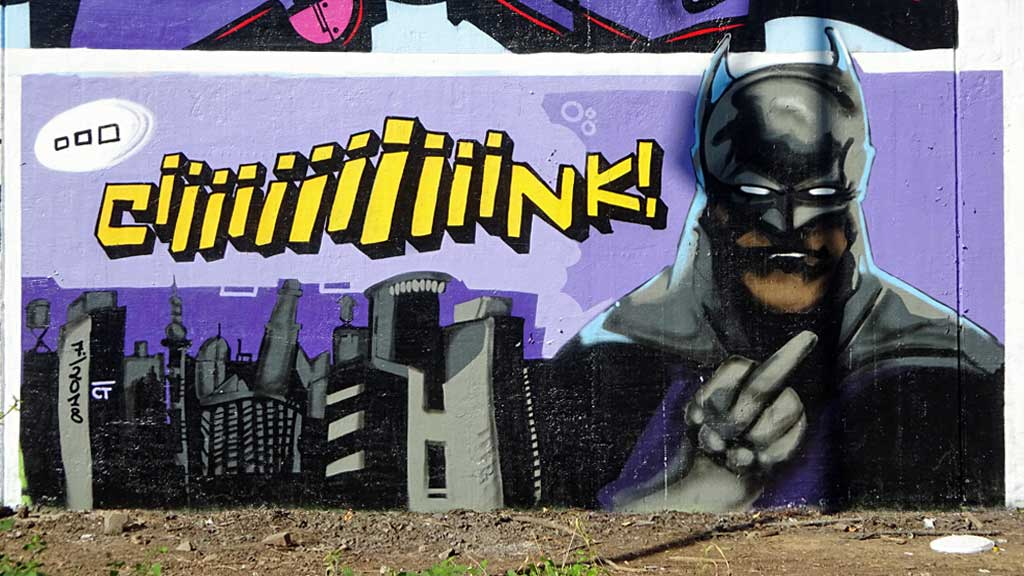 Graffiti in Frankfurt - Comic-Art-Wall am Niddapark