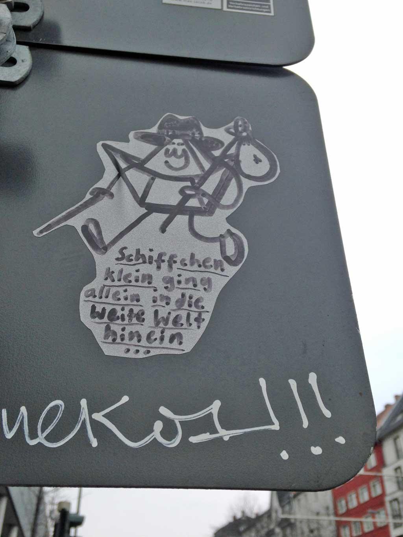 Straßen-Aufkleber in Frankfurt - Friendschiff