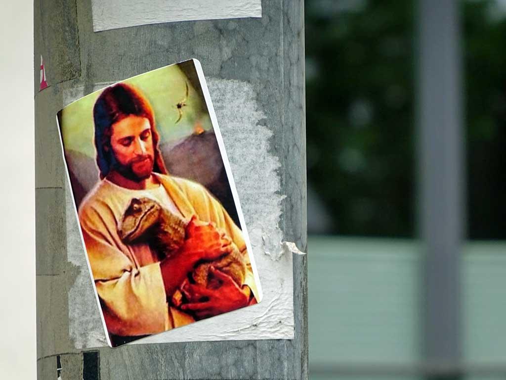 Straßen-Aufkleber in Frankfurt - Jesus mit Echse