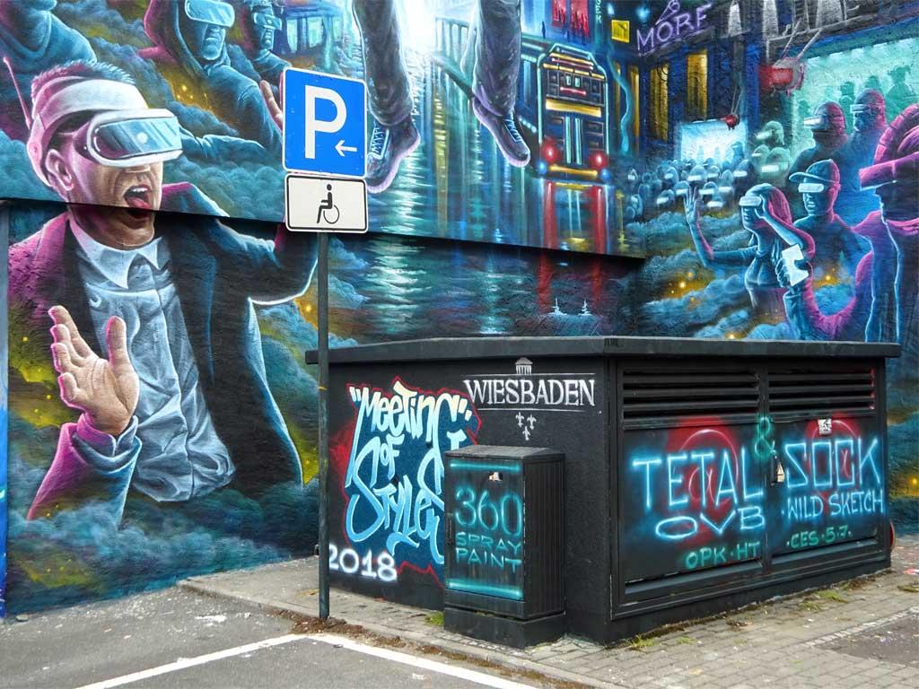 Graffiti von Tetal und Sock beim Meeting Of Styles 2018 in Wiesbaden