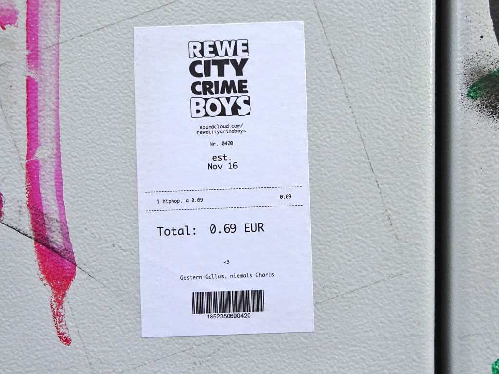Aufkleber in Frankfurt - Rewe City Crime Boys