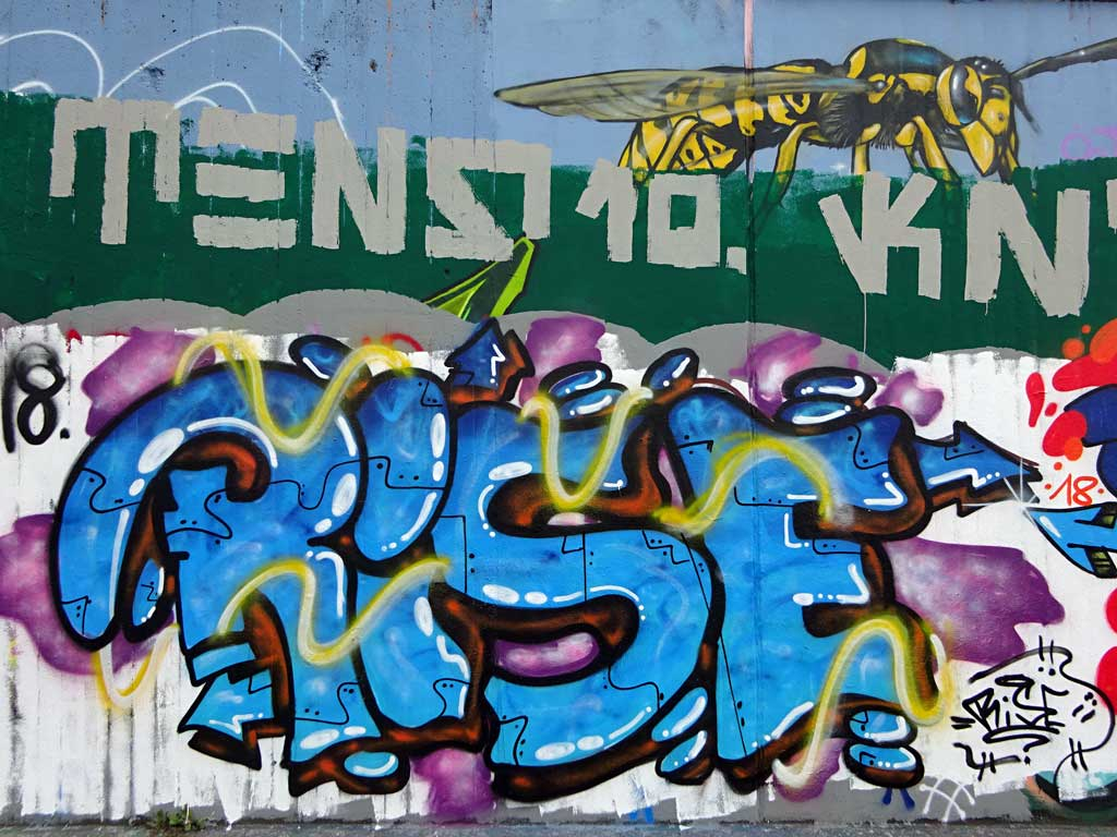 Rise-Graffiti bei der Hall of Fame in Frankfurt