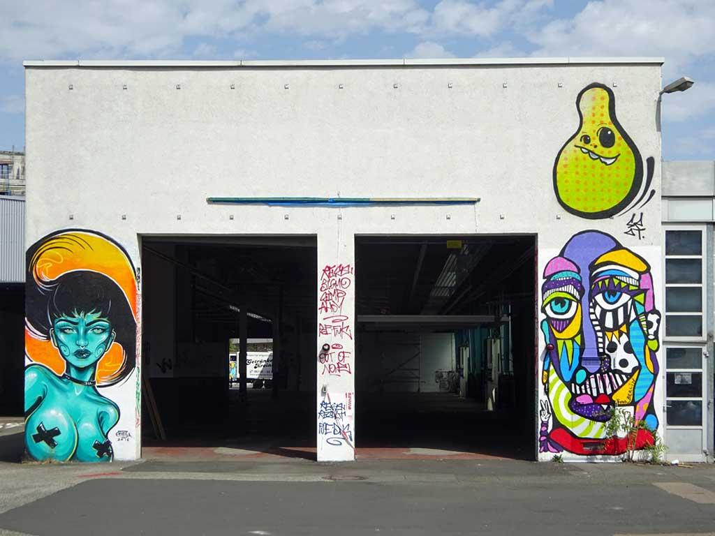 Bona, Emesa, Spot (Cityghost) - Streetart beim Blend Festival in Frankfurt