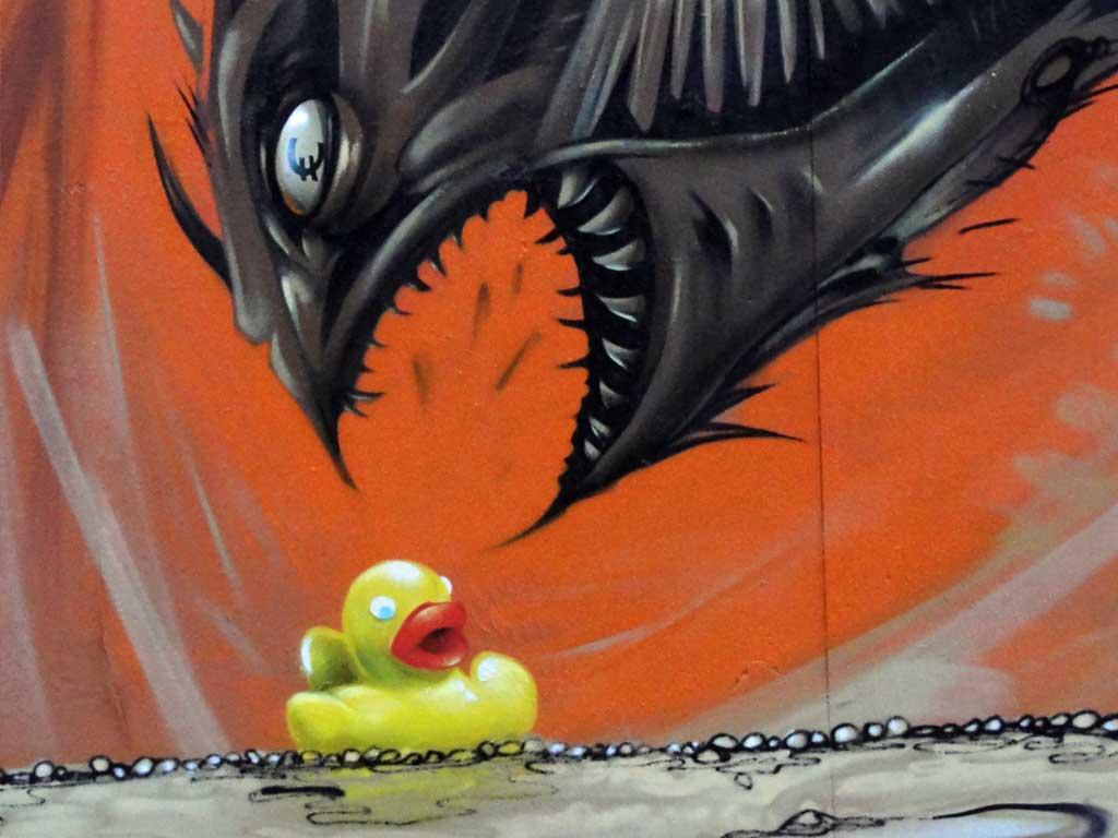 Gelmonster-Graffiti in Frankfurt