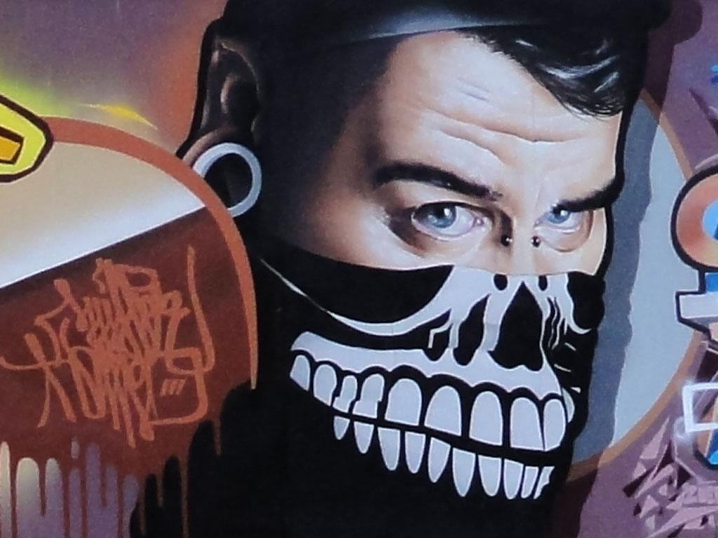 Graffiti am EZB-Bauzaun in Frankfurt
