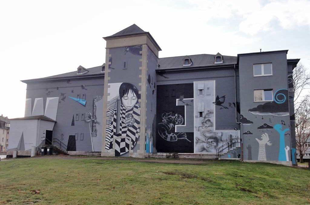 Mural am Leunabunker in Frankfurt-Höchst