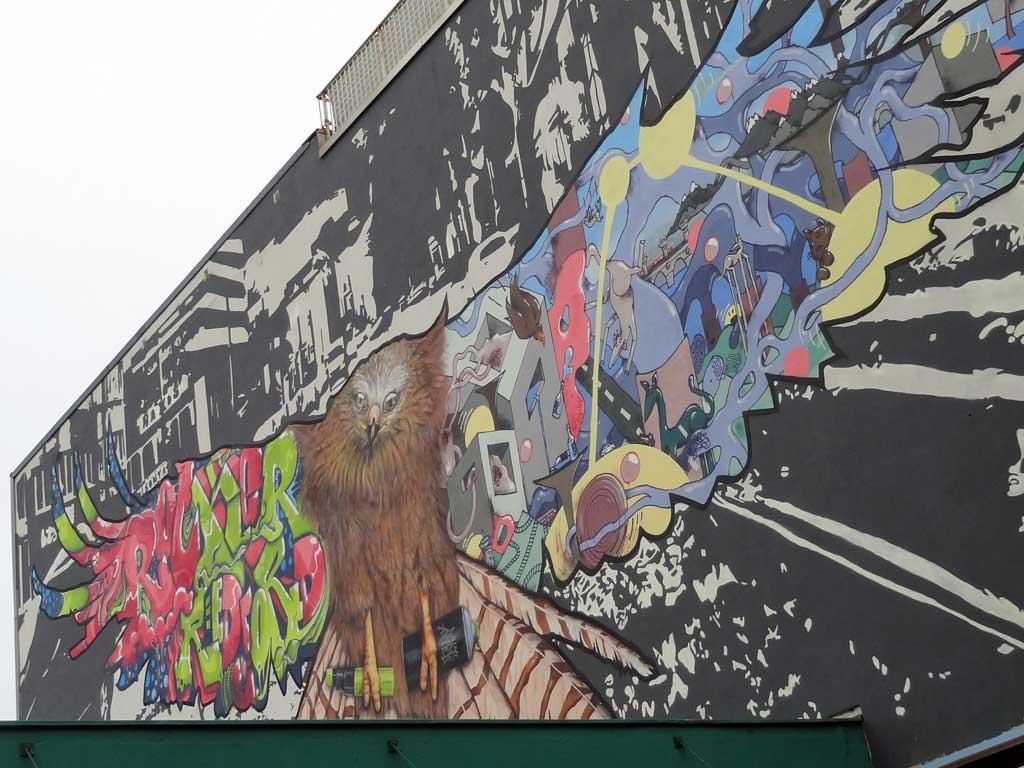 Adler-Graffiti in der Hanauer Landstraße