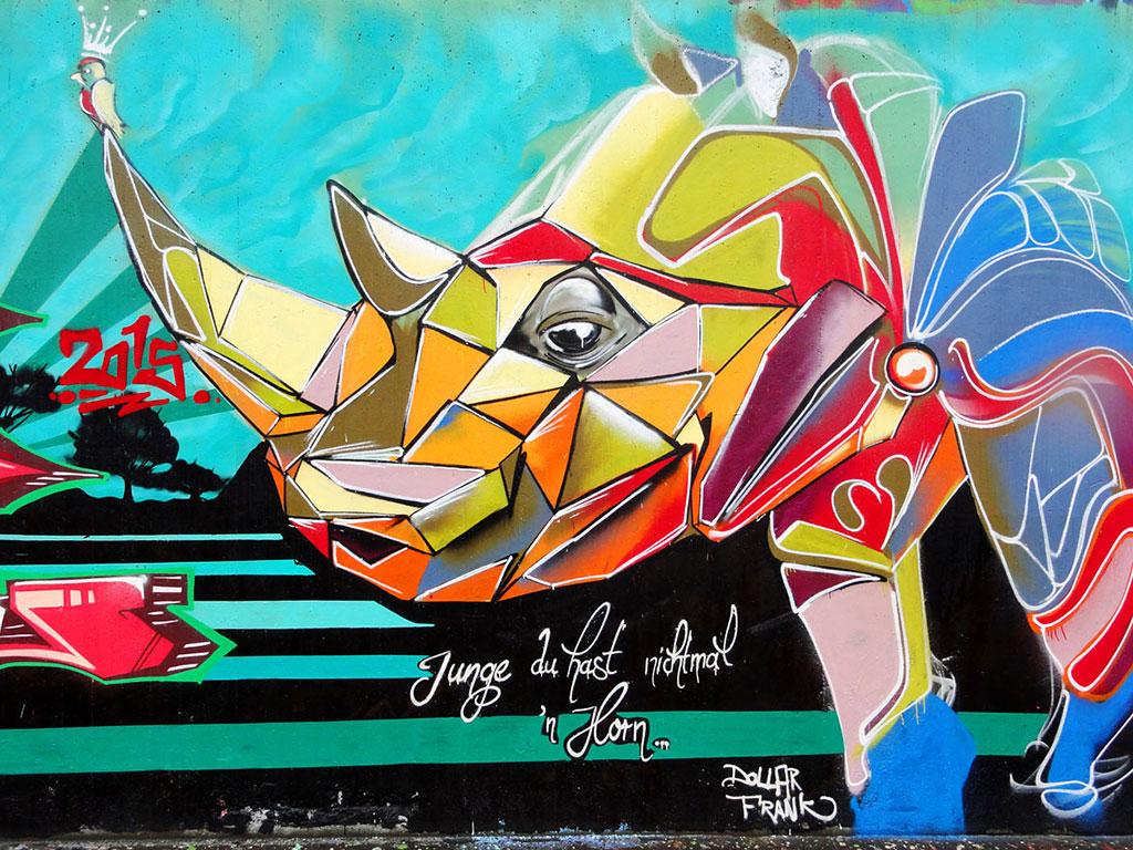 Nashorn-Graffiti von Creis in Frankfurt