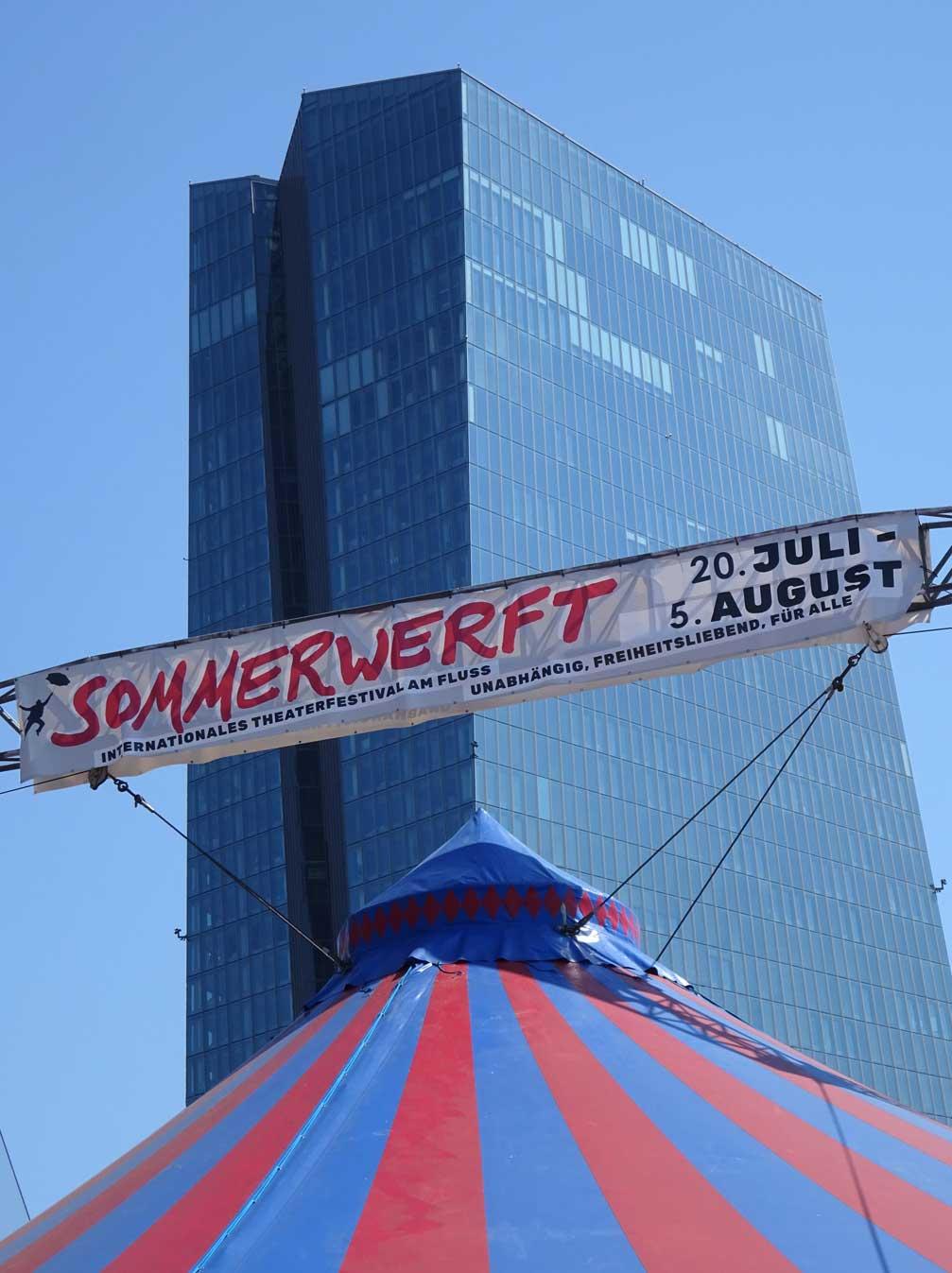 Sommerwerft und EZB in Frankfurt