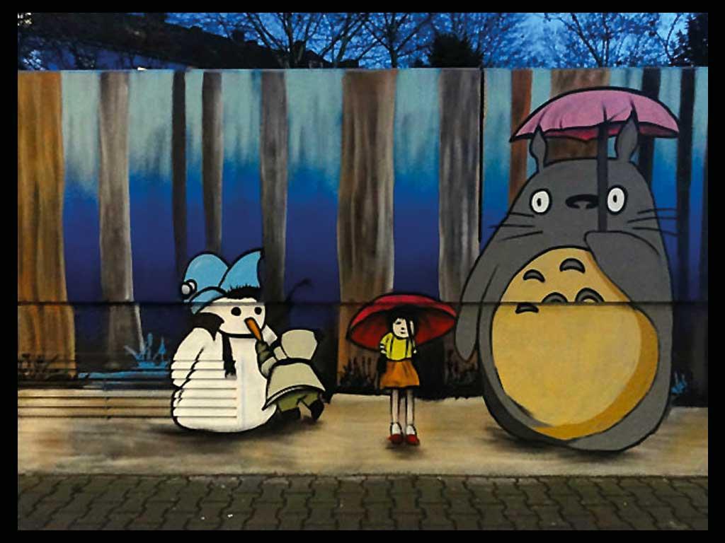 Streetart in Frankfurt mit Totoro