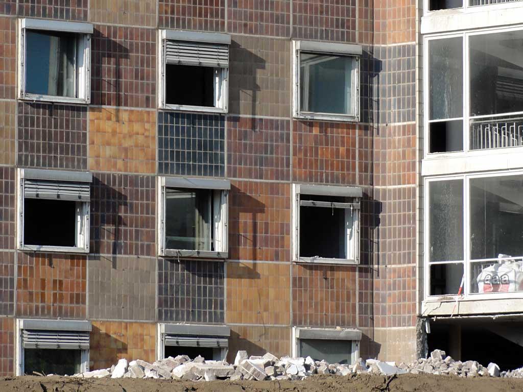 Abbrucharbeiten bei der ehemaligen Oberfinanzdirektion in Frankfurt