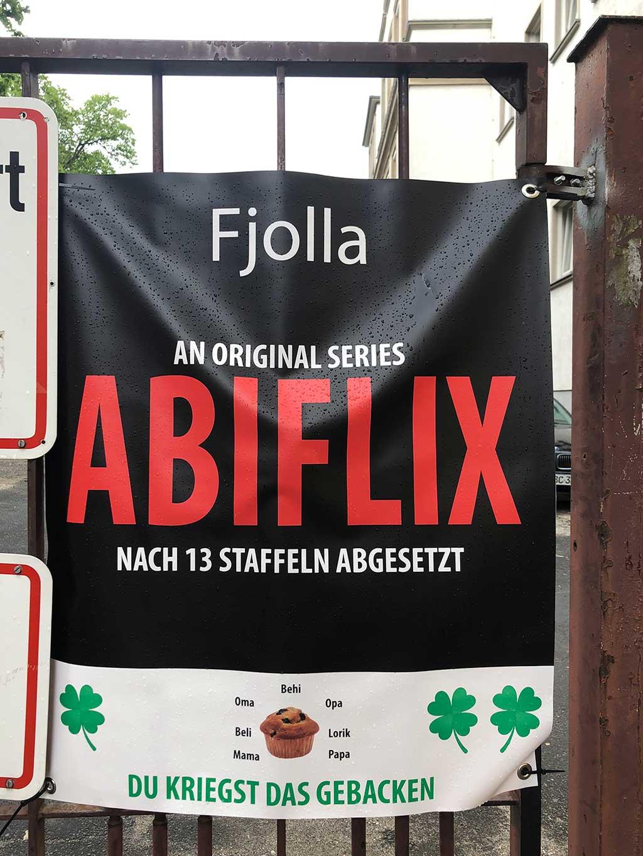 Abi-Banner in Frankfurt - Abiflix